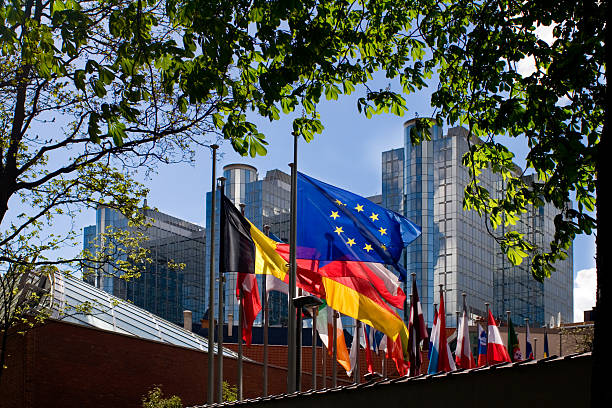 "Flags in front of European Parliament, Brussels ""Blue/yellow European flag, among others,fluttering in front of the European Parliament building in Brussels."" berlaymont stock pictures, royalty-free photos & images"