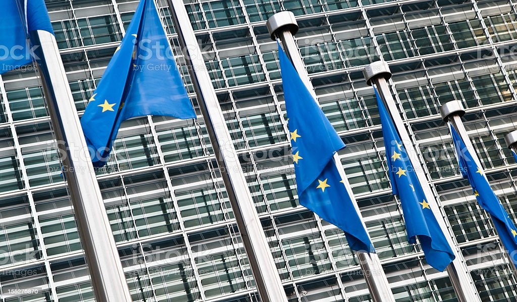Flags in front of the European Commission, Brussels stock photo