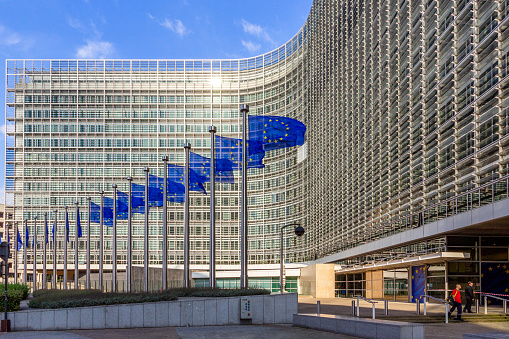 Eu Flags In Front Of The European Union Building Stock Photo - Download Image Now