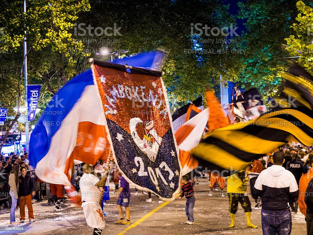 Flags In The Carnaval In Montevideo Uruguay Stock Photo - Download