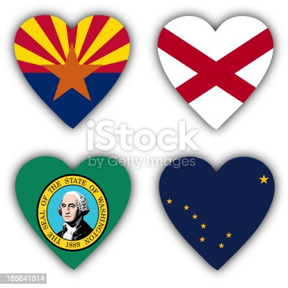 istock Flags in the shape of a heart, US states 185641514