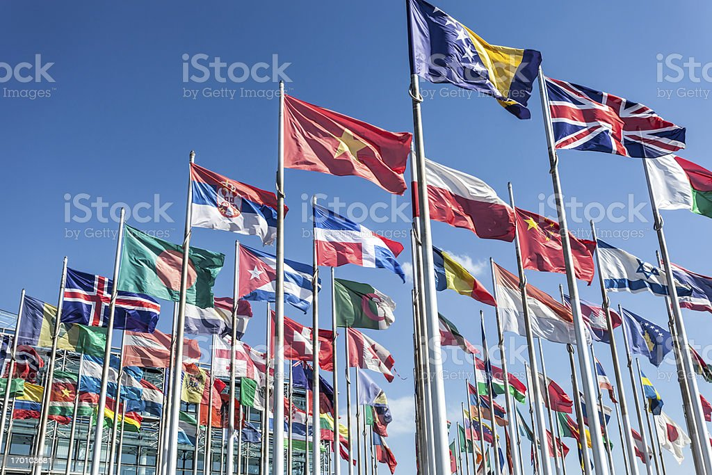 Flags in wind stock photo