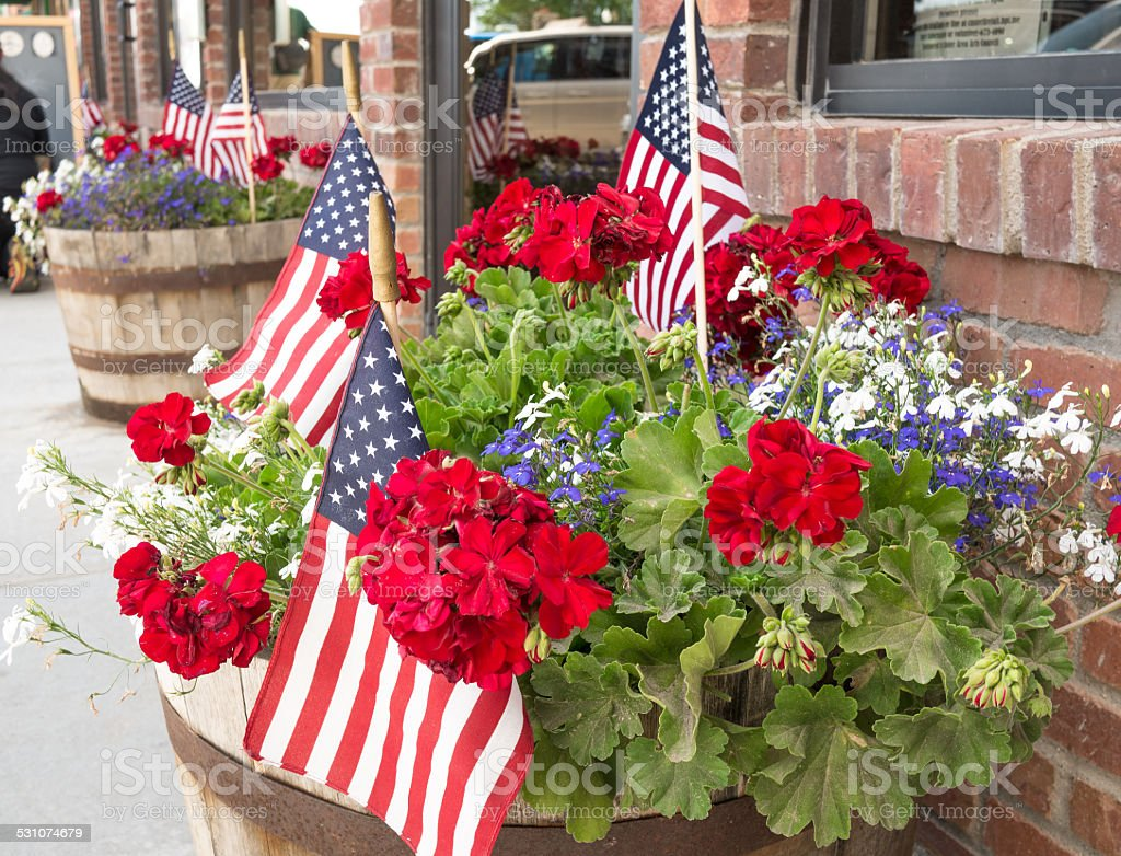 Flags July 4th decorations patriotic American stock photo