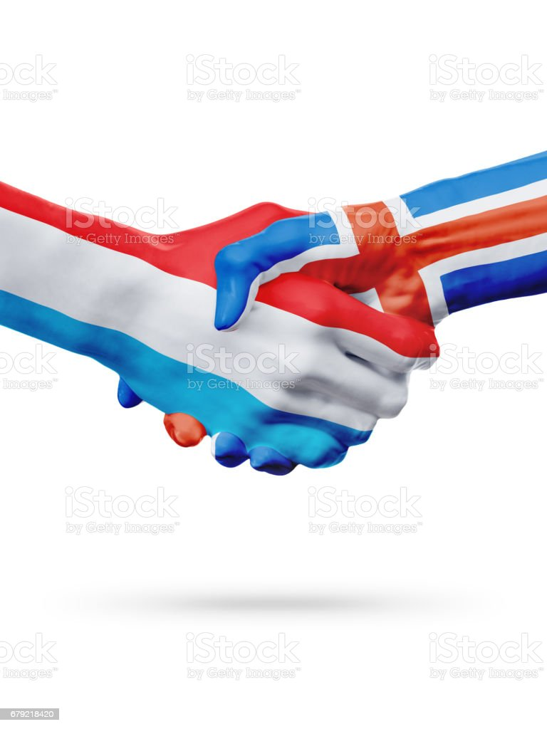 Flags Luxembourg, Iceland countries, partnership friendship handshake concept. foto de stock royalty-free