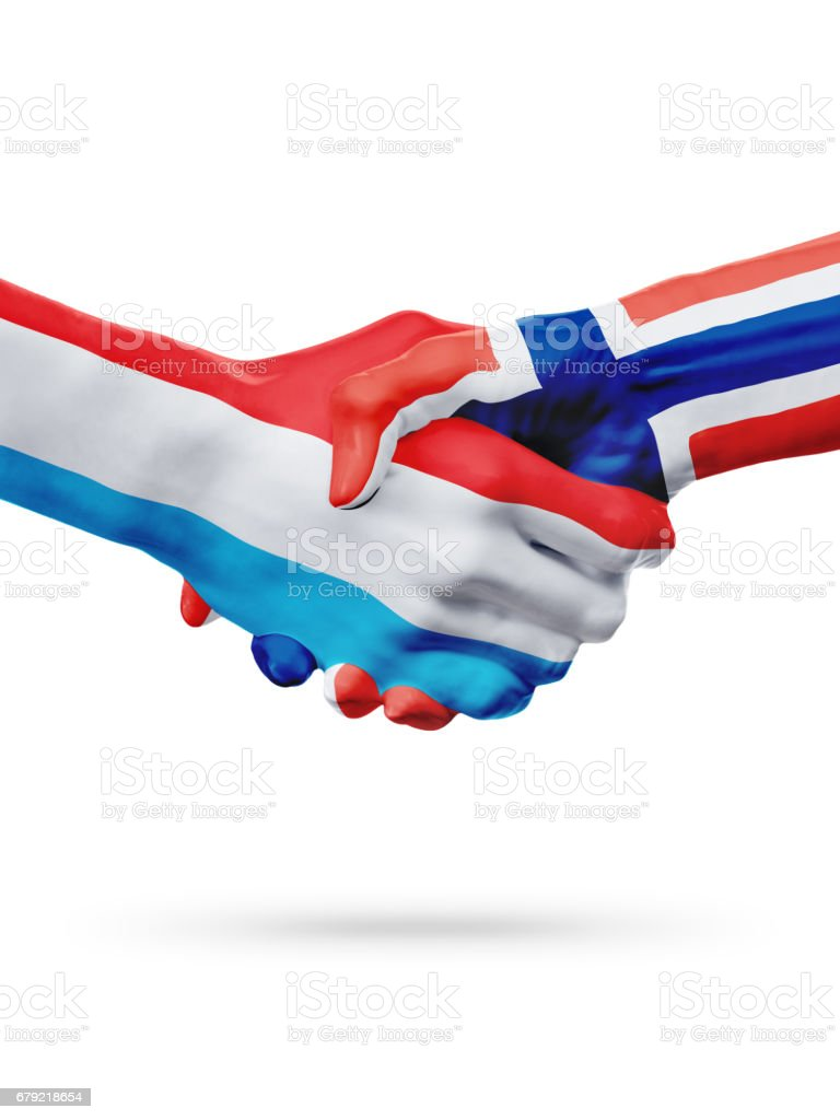 Flags Luxembourg, Norway countries, partnership friendship handshake concept. foto de stock royalty-free