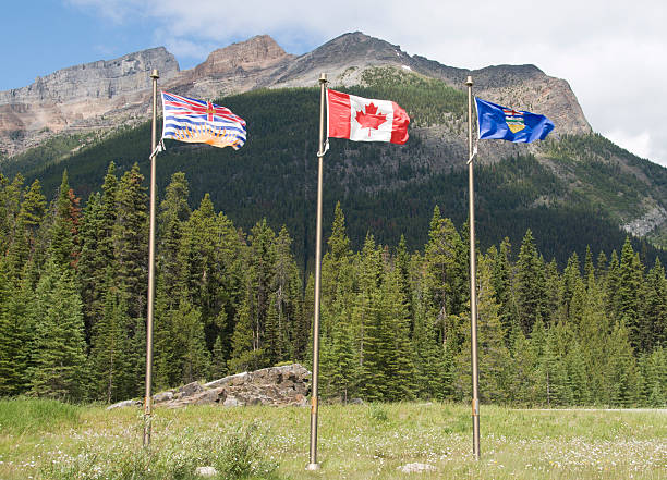 Flags marking the Canadian Continental Divide stock photo