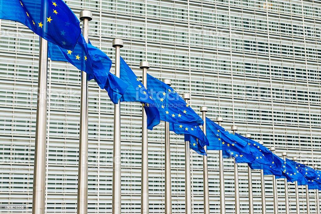 EU flags near EU headquarters Berlaymont European Commission bui stock photo