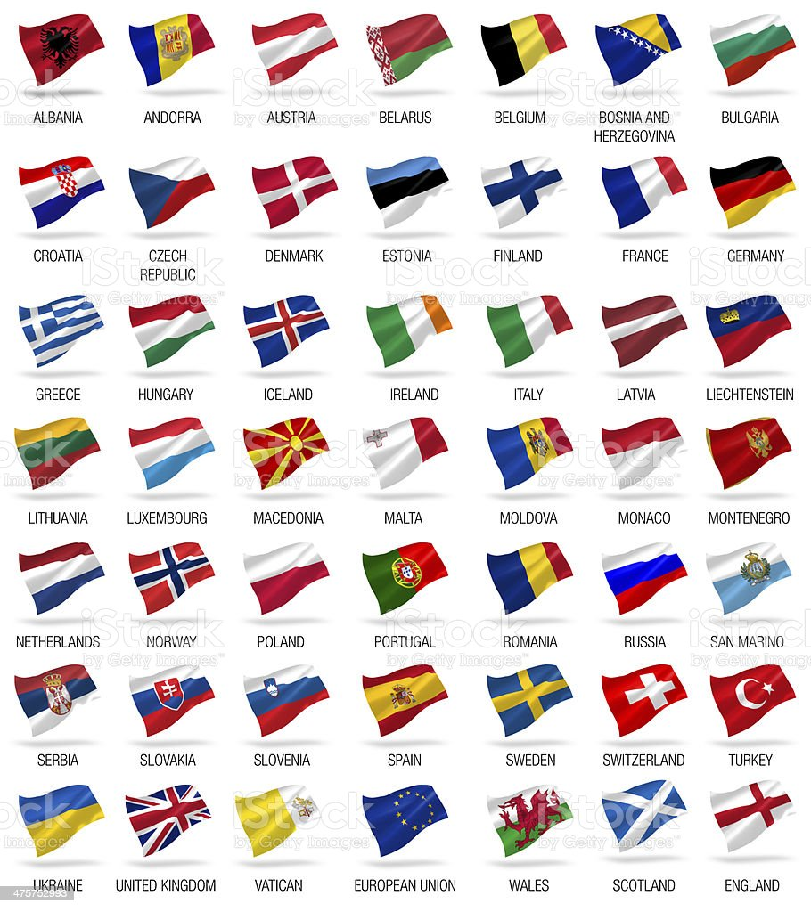 flags of all european countries stock photo