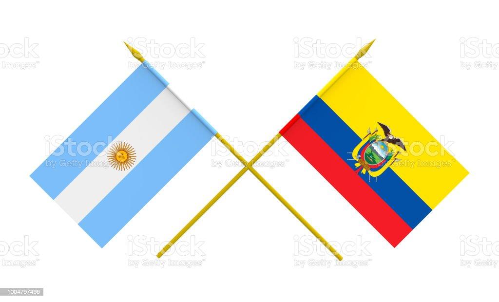 Bandeiras da Argentina e Equador - foto de acervo