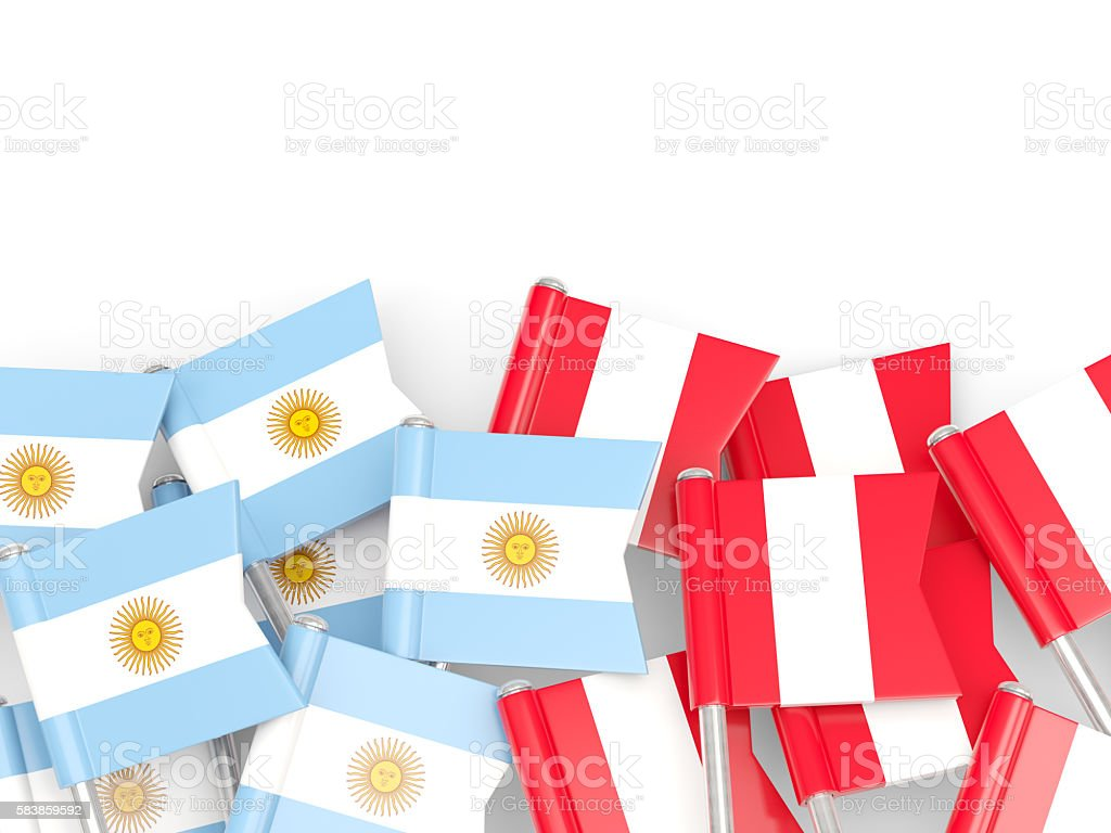 Flags of Argentina and Peru isolated on white - foto de stock