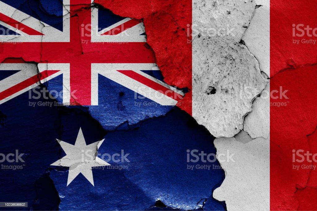 flags of Australia and Peru stock photo