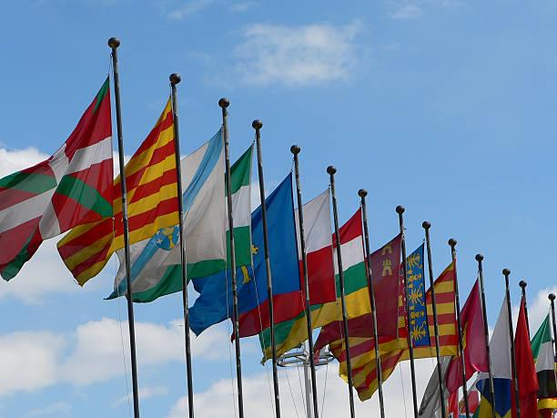 Flags of autonomic Spanish communities stock photo