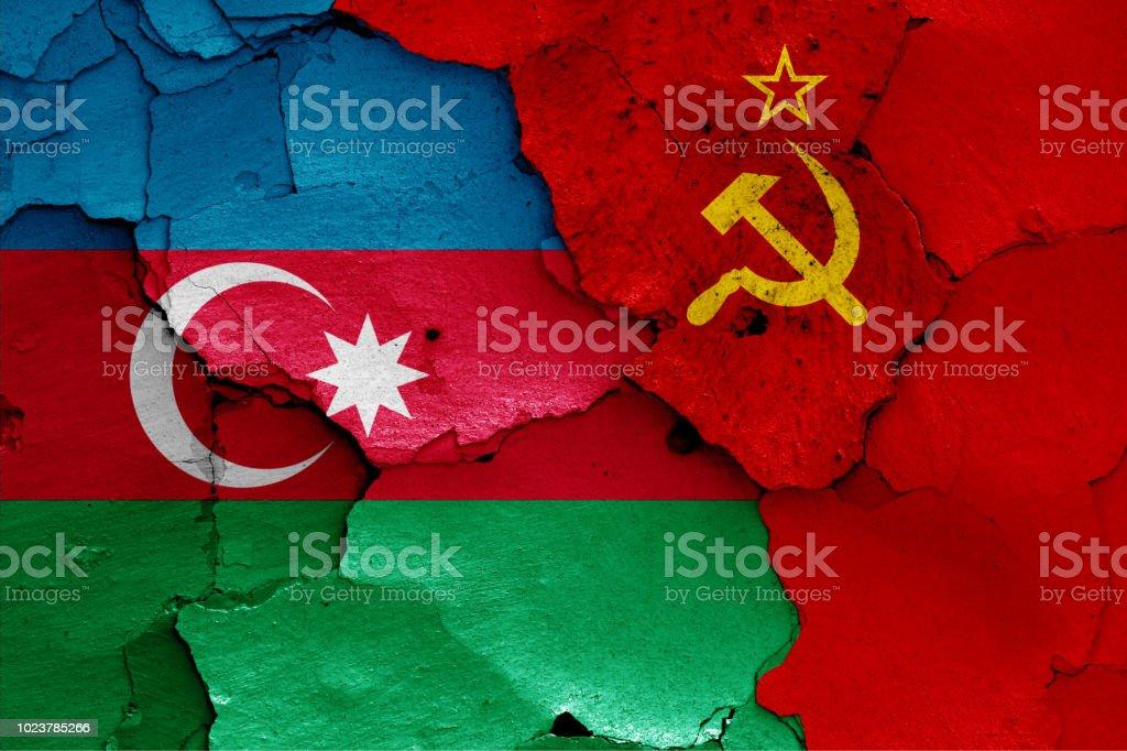 banderas de Azerbaiyán y la Unión Soviética - foto de stock