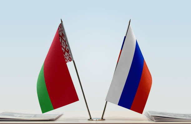 Flags of Belarus and Russia stock photo