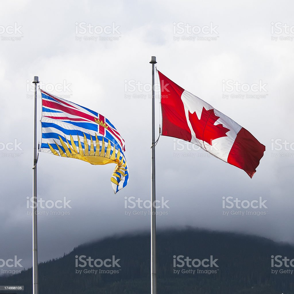 Flags of British Columbia and Canada stock photo