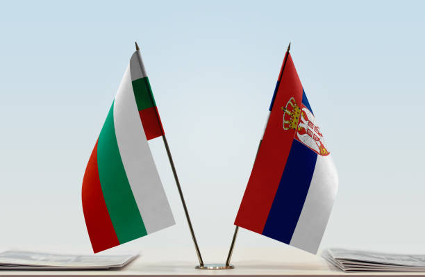 Flags of Bulgaria and Serbia stock photo