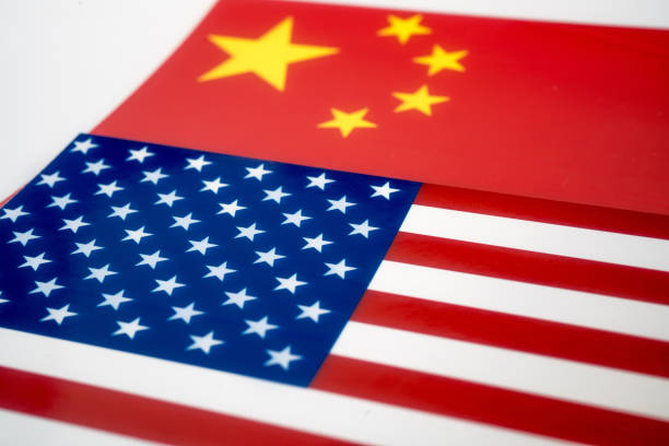 flags of China and America stock photo