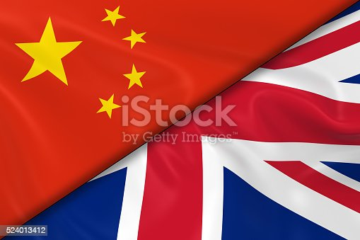 istock Flags of China and the United Kingdom Divided Diagonally 524013412