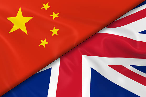 Flags of China and the United Kingdom Divided Diagonally stock photo