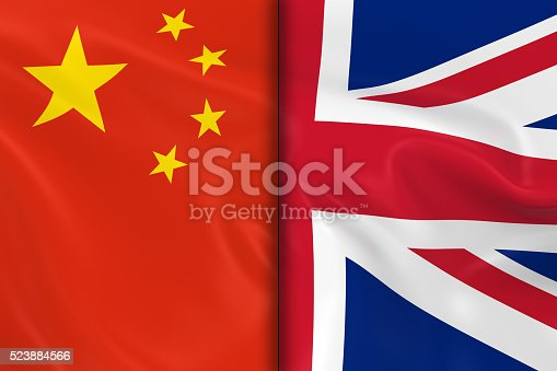 istock Flags of China and the United Kingdom Split 523884566