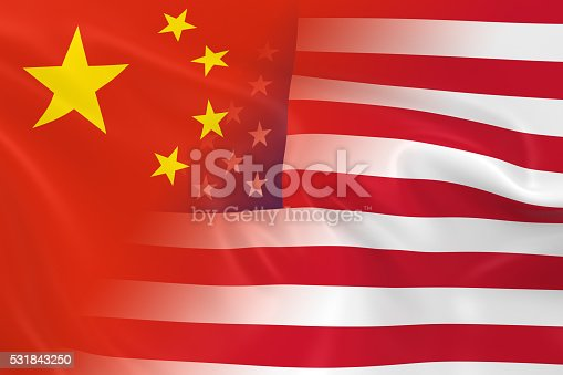 istock Flags of China and the United States Fading Together 531843250