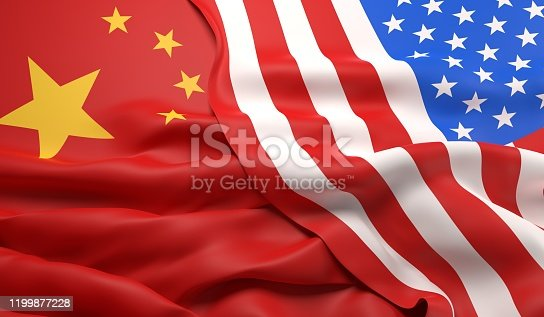 The flags of China and the USA overlapping