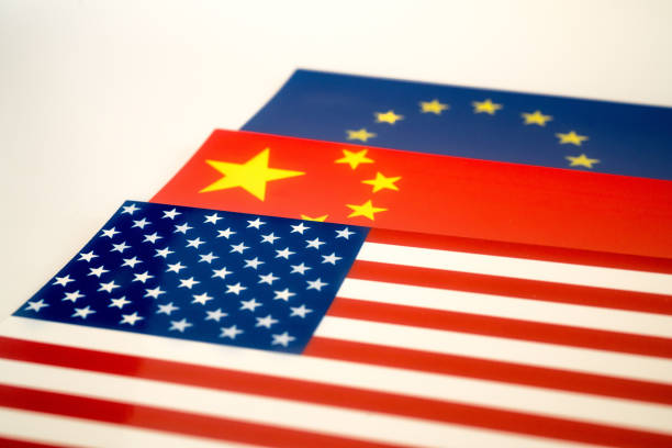 flags of China,European Union and America stock photo