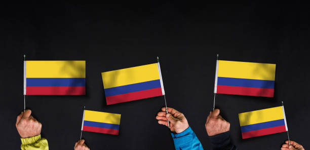flags of Colombia stock photo