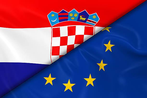 Bandera de croacia y la Unión Europea puede dividirse en diagonal - foto de stock