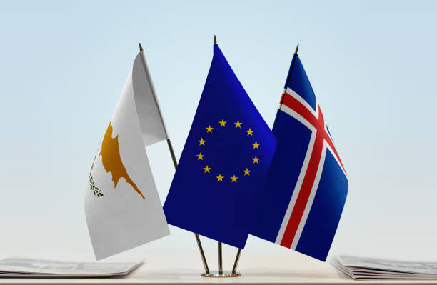flags of cyprus european union and iceland - conferences stock photos and pictures