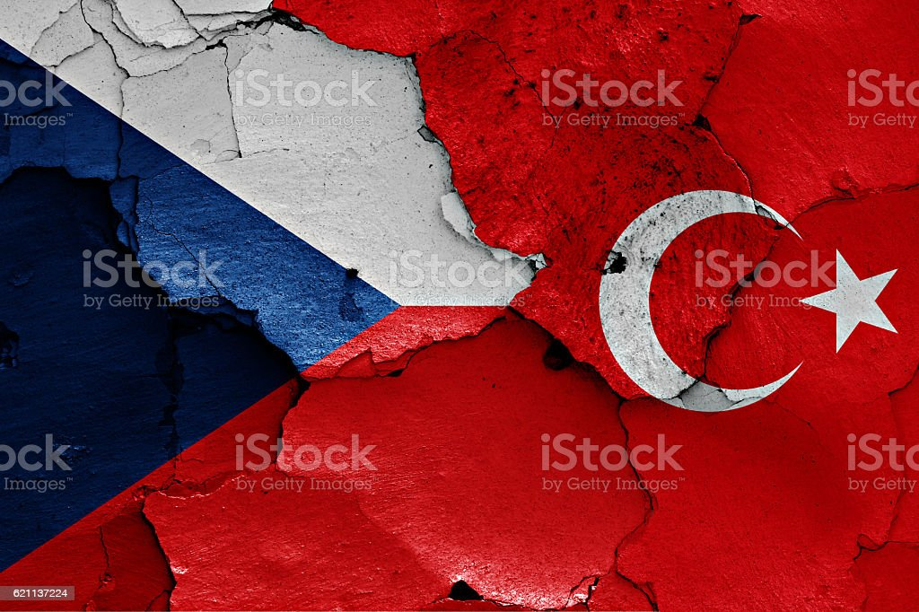 flags of Czech Republic and Turkey painted on cracked wall stock photo