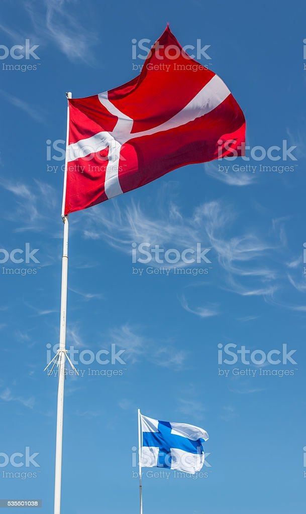 Flags of Denmark and Finland. stock photo