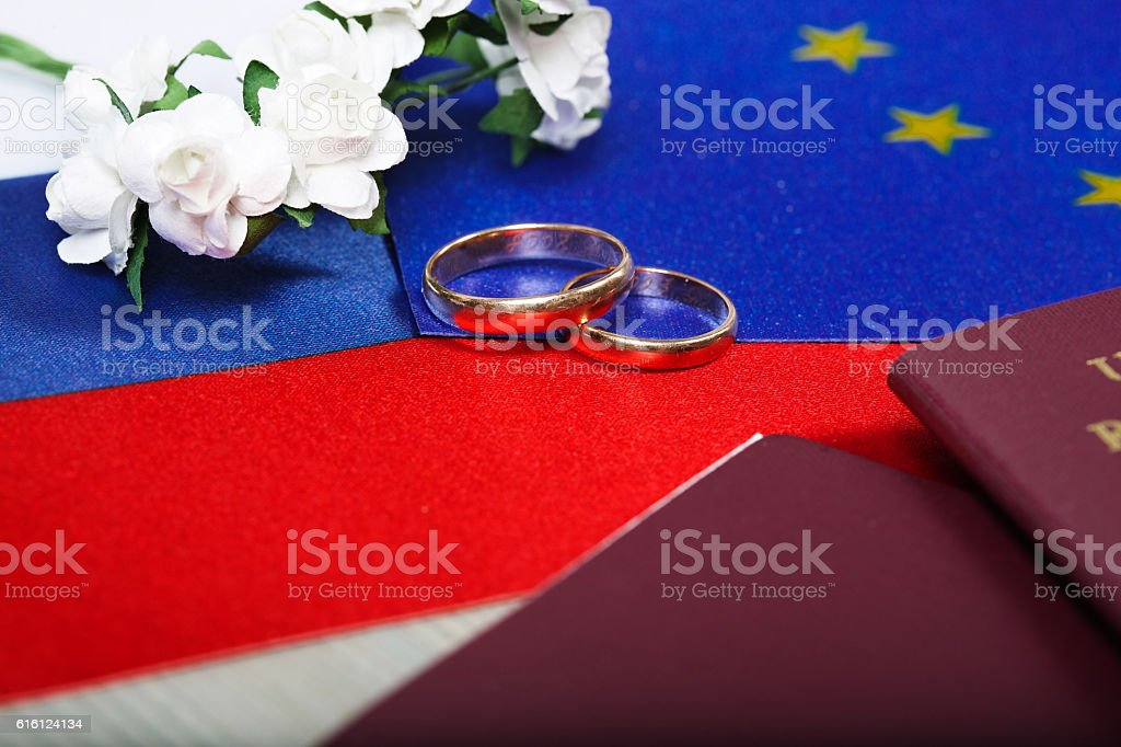 Flags of EU and Russia,two marriage rings,passes. Closeup stock photo