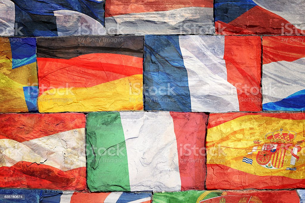 Flags of EU countries on bricks stock photo