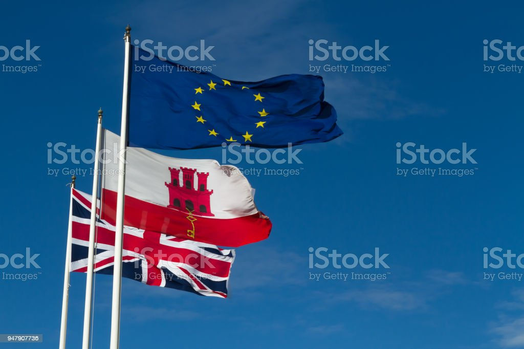 Flags of Europe, Gibraltar and the United Kingdom. stock photo