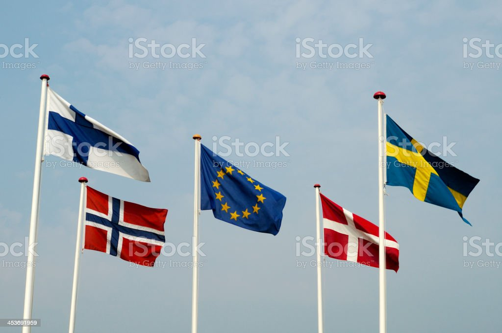 Flags of European Union and Scandinavian Countries royalty-free stock photo