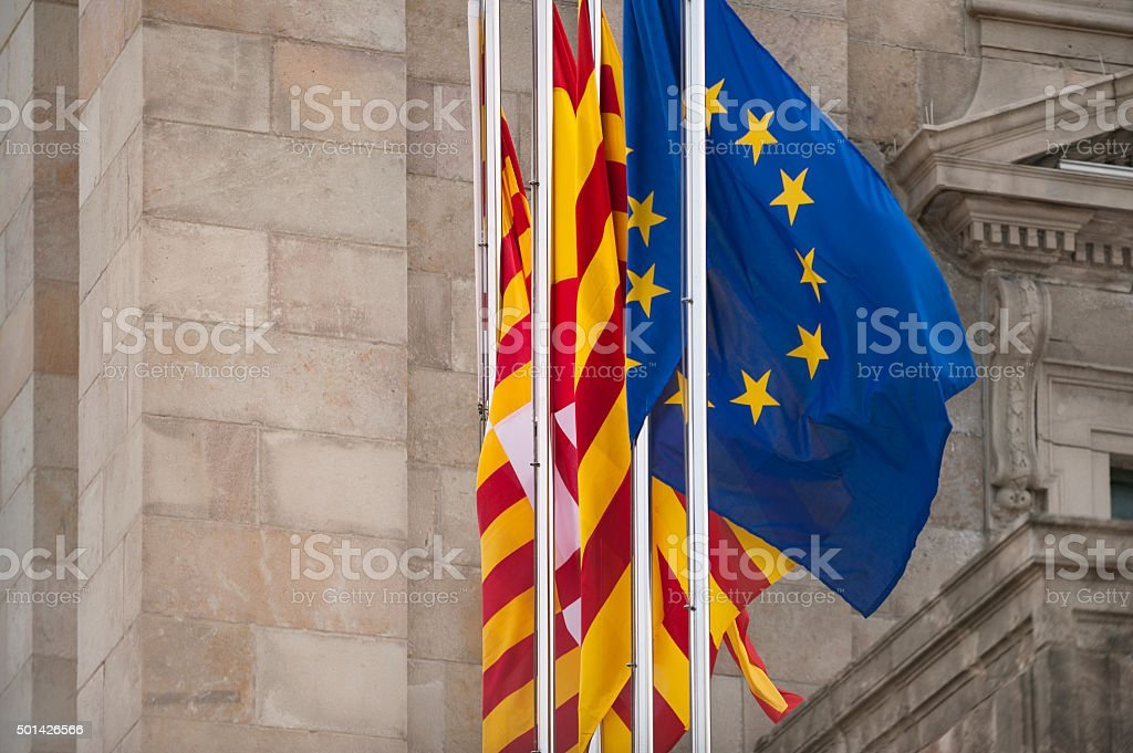 Flags of European Union, Catalonia and Barcelona stock photo
