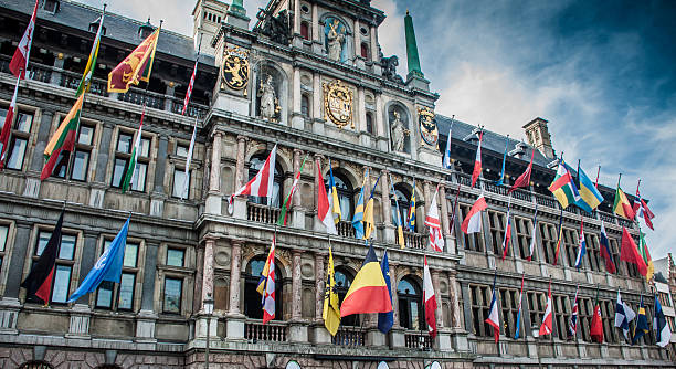 Flags of European union in Belgium - Photo