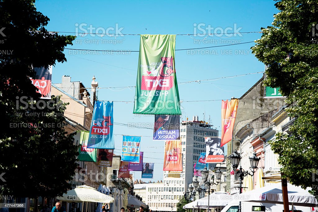 Flags of EXIT festival 2015 in city of Novi Sad stock photo