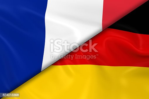 istock Flags of France and Germany Divided Diagonally 524013368