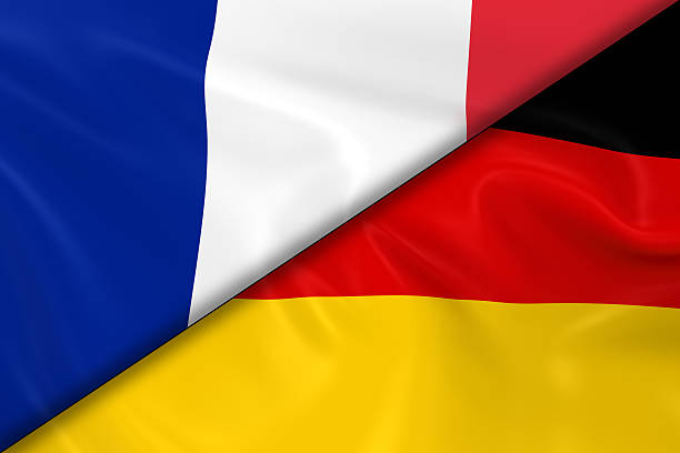 Flags of France and Germany Divided Diagonally stock photo