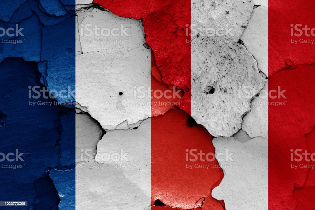 flags of France and Peru stock photo