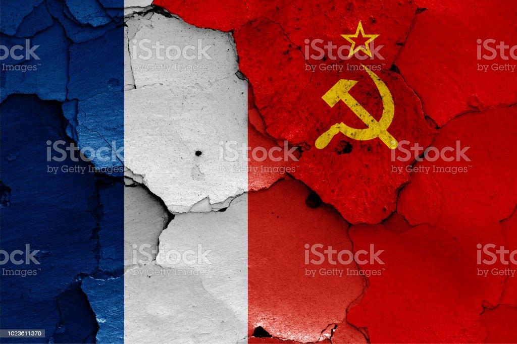 banderas de Francia y Unión Soviética - foto de stock