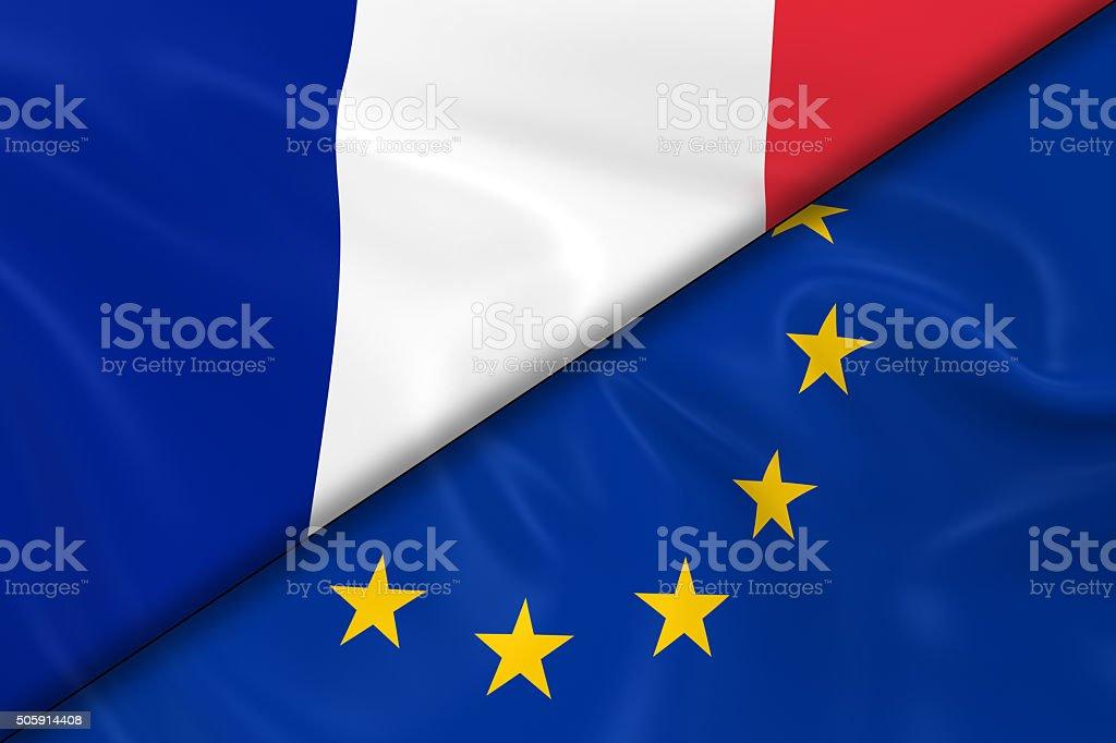 旗のフランスとヨーロッパ連合斜...