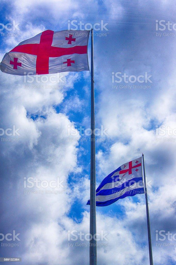Flags of Georgia and Ajara stock photo