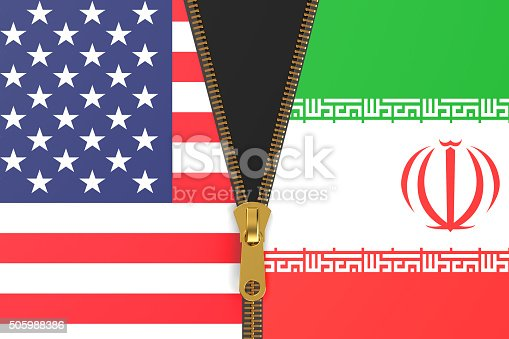 istock Flags of Iran and USA, political concept 505988386