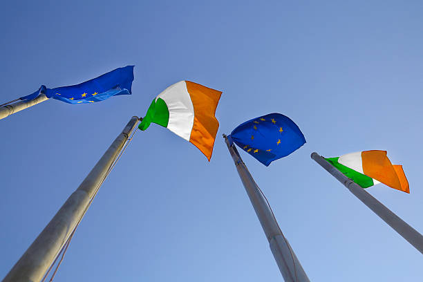Flags of Ireland and EU – Foto