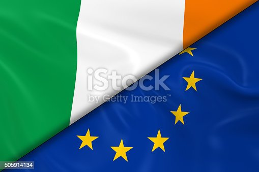 istock Flags of Ireland and the European Union Divided Diagonally 505914134