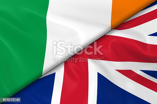 istock Flags of Ireland and the United Kingdom Divided Diagonally 524013140
