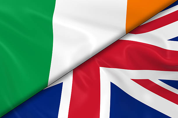 Flags of Ireland and the United Kingdom Divided Diagonally stock photo